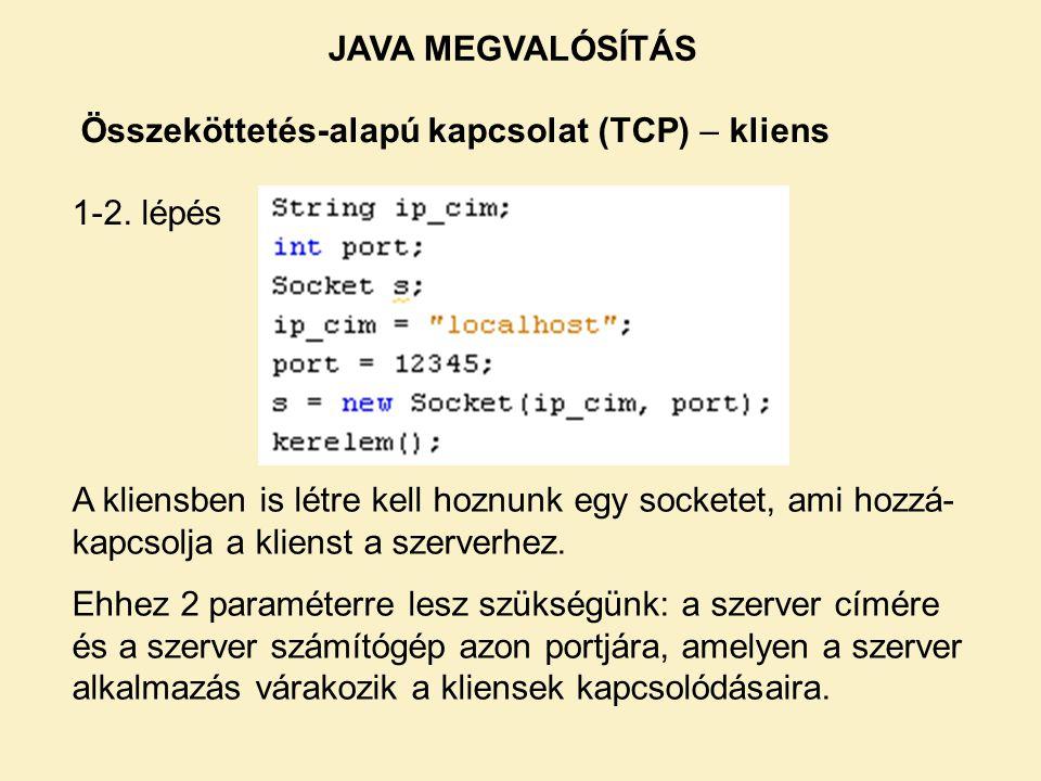 Összeköttetés-alapú kapcsolat (TCP) – kliens 1-2. lépés A kliensben is létre kell hoznunk egy socketet, ami hozzá- kapcsolja a klienst a szerverhez. E