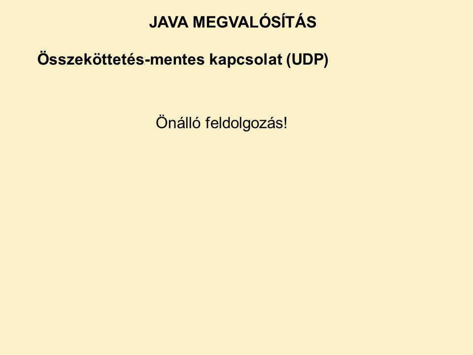 Összeköttetés-mentes kapcsolat (UDP) Önálló feldolgozás! JAVA MEGVALÓSÍTÁS