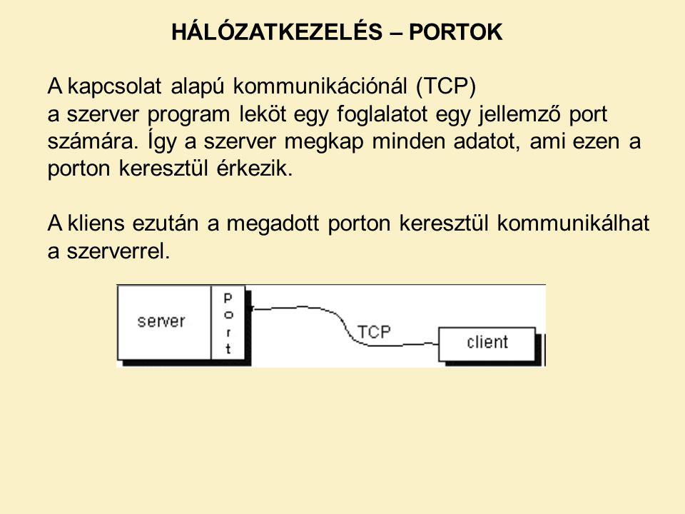 A kapcsolat alapú kommunikációnál (TCP) a szerver program leköt egy foglalatot egy jellemző port számára. Így a szerver megkap minden adatot, ami ezen