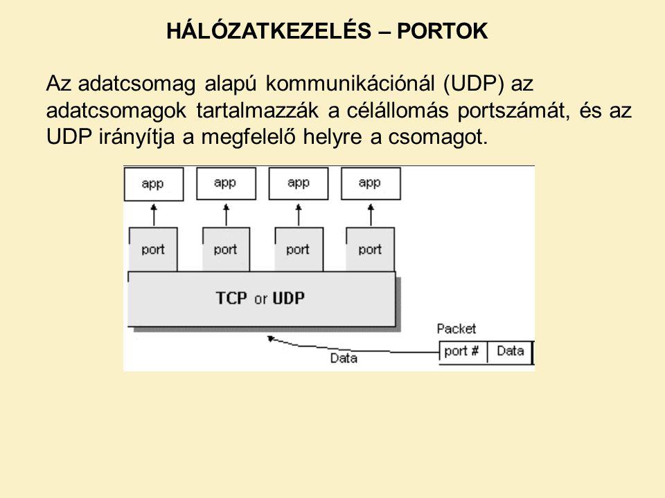 Az adatcsomag alapú kommunikációnál (UDP) az adatcsomagok tartalmazzák a célállomás portszámát, és az UDP irányítja a megfelelő helyre a csomagot. HÁL