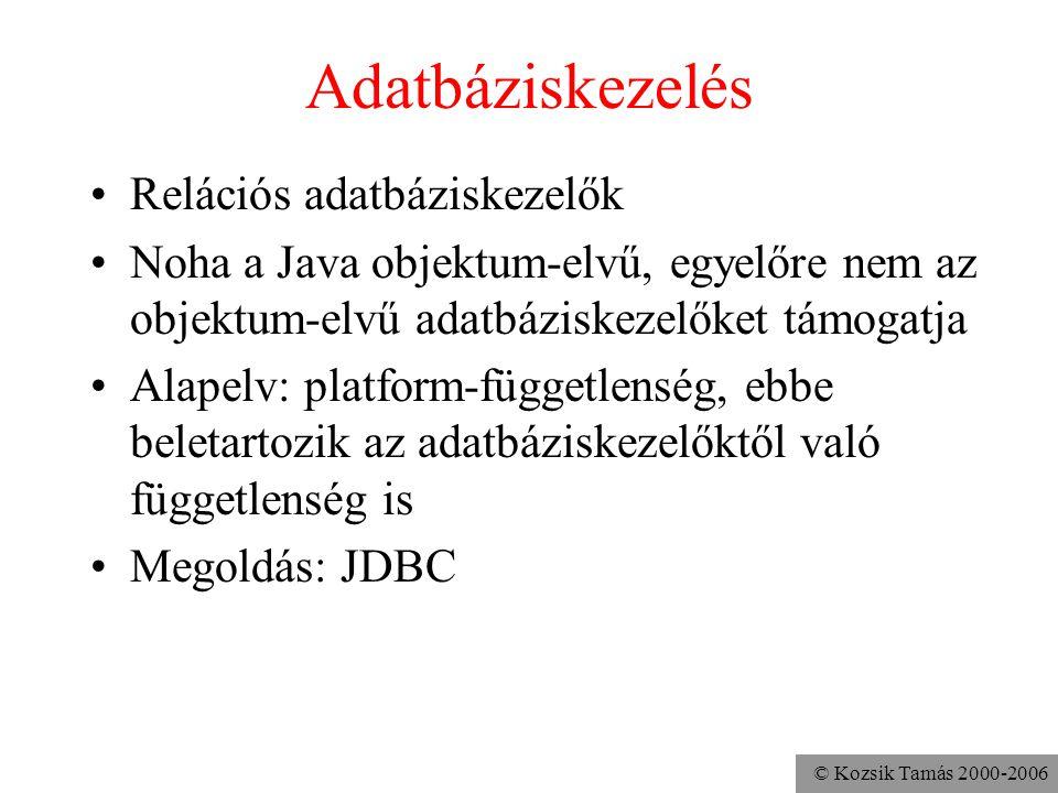 © Kozsik Tamás 2000-2006 JDBC •Valami interfész, amit a Java programok és az adatbáziskezelők közé lehet rakni •Ne kelljen olyan kódot írni, amely egy picit is egy konkrét ABkezelő rendszertől függ •Egy művelethalmaz, amit a Java programozók használhatnak •Funkcionalitás, amit az adatbáziskezelő készítőjének meg kell valósítania –JDBC-compliant •Szerződés-modell