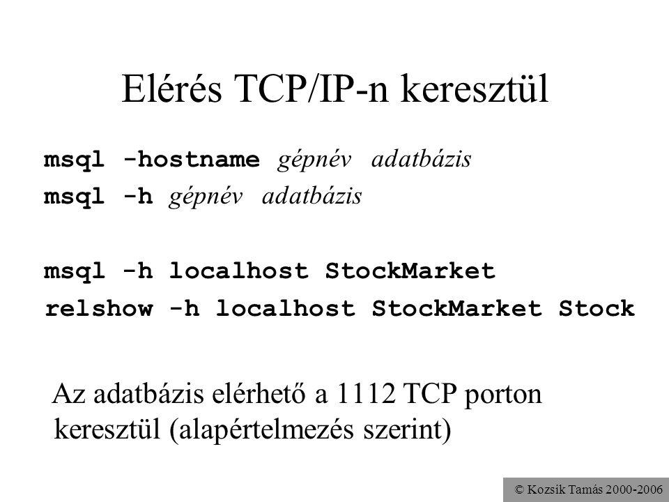 © Kozsik Tamás 2000-2006 Elérés TCP/IP-n keresztül msql -hostname gépnév adatbázis msql -h gépnév adatbázis msql -h localhost StockMarket relshow -h localhost StockMarket Stock Az adatbázis elérhető a 1112 TCP porton keresztül (alapértelmezés szerint)