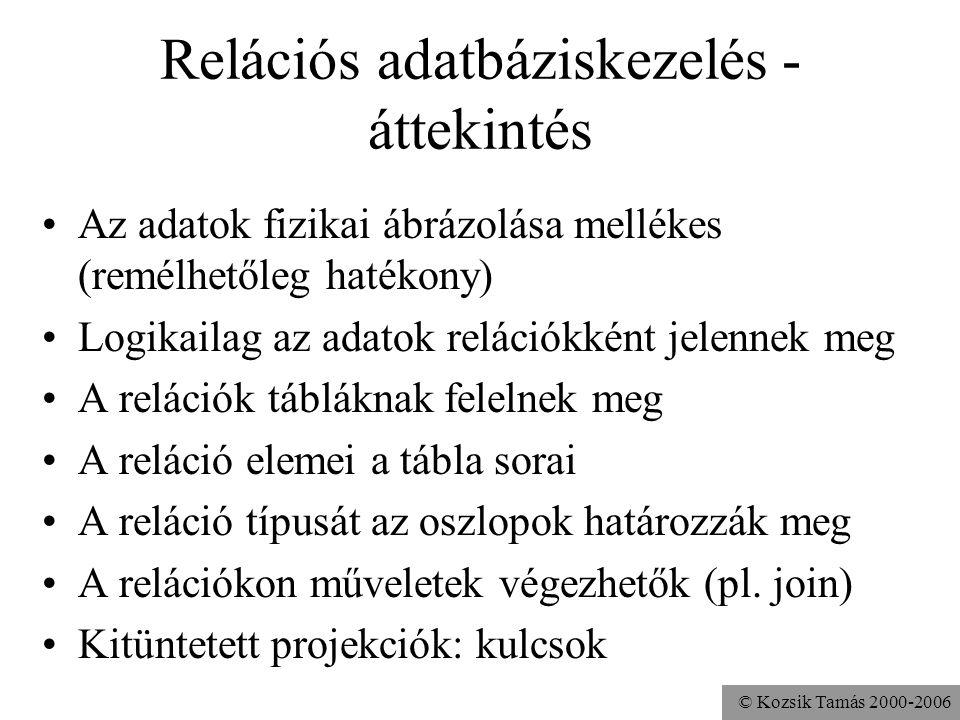 © Kozsik Tamás 2000-2006 Példa: bróker cég •Ügyfelek tábla Azon.