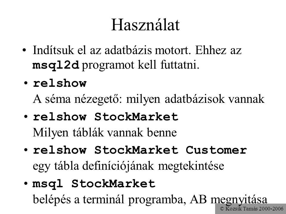 © Kozsik Tamás 2000-2006 Kötegelt (batch) végrehajtás •Gyorsabb adatmanipulációs/definíciós utasítások int[] sorok; Statement s = c.createStatement(); s.addBatch( insert into Nevek + values ( Lennon , McCartney ) ); s.addBatch( insert into Nevek + values ( Szőrényi , Bródy ) ); sorok = s.executeBatch();