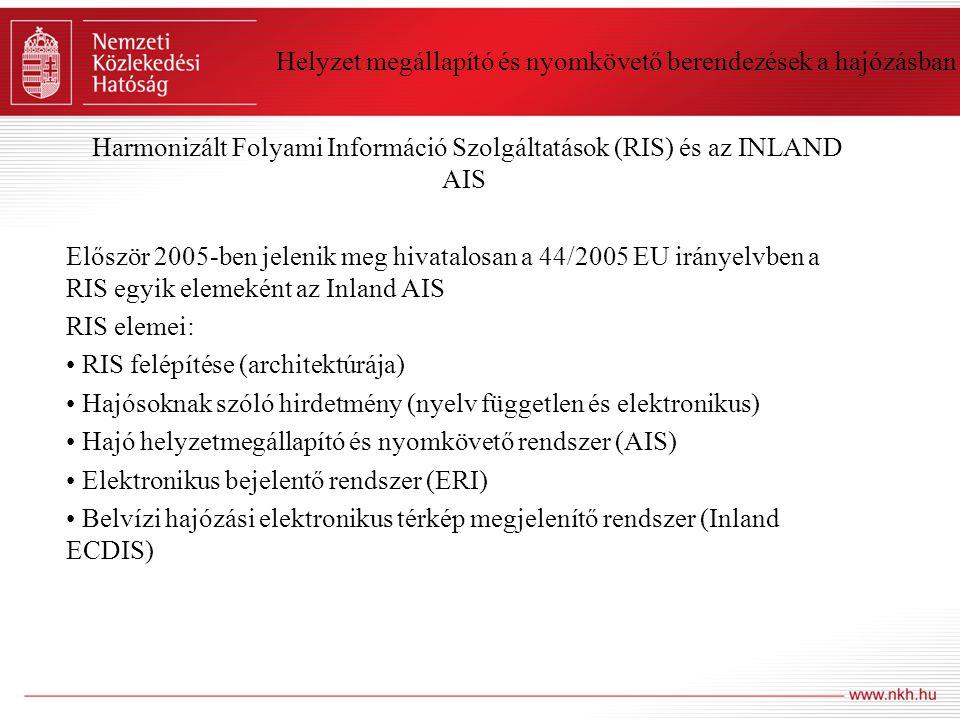 Helyzet megállapító és nyomkövető berendezések a hajózásban Harmonizált Folyami Információ Szolgáltatások (RIS) és az INLAND AIS Először 2005-ben jele