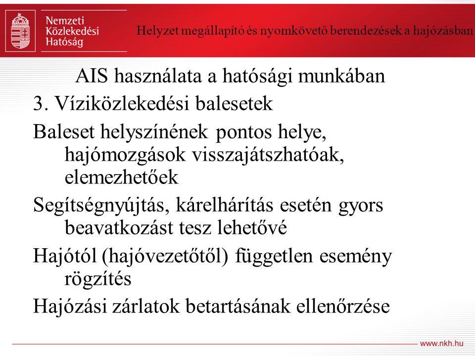 Helyzet megállapító és nyomkövető berendezések a hajózásban AIS használata a hatósági munkában 3. Víziközlekedési balesetek Baleset helyszínének ponto