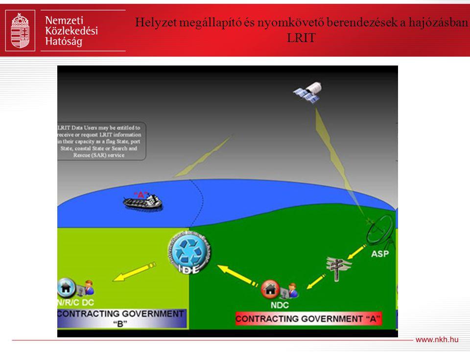 Helyzet megállapító és nyomkövető berendezések a hajózásban Nagy-hatósugarú azonosító és nyomkövető rendszer (Long Range Identification and Tracking – LRIT) •Szintén IMO kezdeményezésre indult •A hajó műholdas rádió-berendezésén keresztül a hajó pozíciója és azonosító adatait küldi •2009 július 1-ével az EU is működtet egy szolgáltató adatcsere központot (Párizsban a CLS) •Tagállamok csatlakozhatnak bármely adatcsere központhoz •Adatokat az Inmarsat készülékeken keresztül a hajótól függetlenül kapják •6 óránként ingyenes – sűrűbben fizetős az adatszolgáltatás •Szomália térségében 1 órás jeladások (kalózkodás) •Minden IMO tagállama egy adatközponthoz csatlakozik és azon keresztül kapja a hajóadatokat •Az adatközpontok egymásnak továbbítják az adatokat és elszámolnak vele •A tagállamok a megkapott adatokat továbbítják a hatóságok és a gazdaság szereplői felé •A tagállamok pedig az általuk továbbított adatokat szintén fizetős szolgáltatásként kezelik •A tagállamok a rendelkezésükre álló adatokat továbbítja a