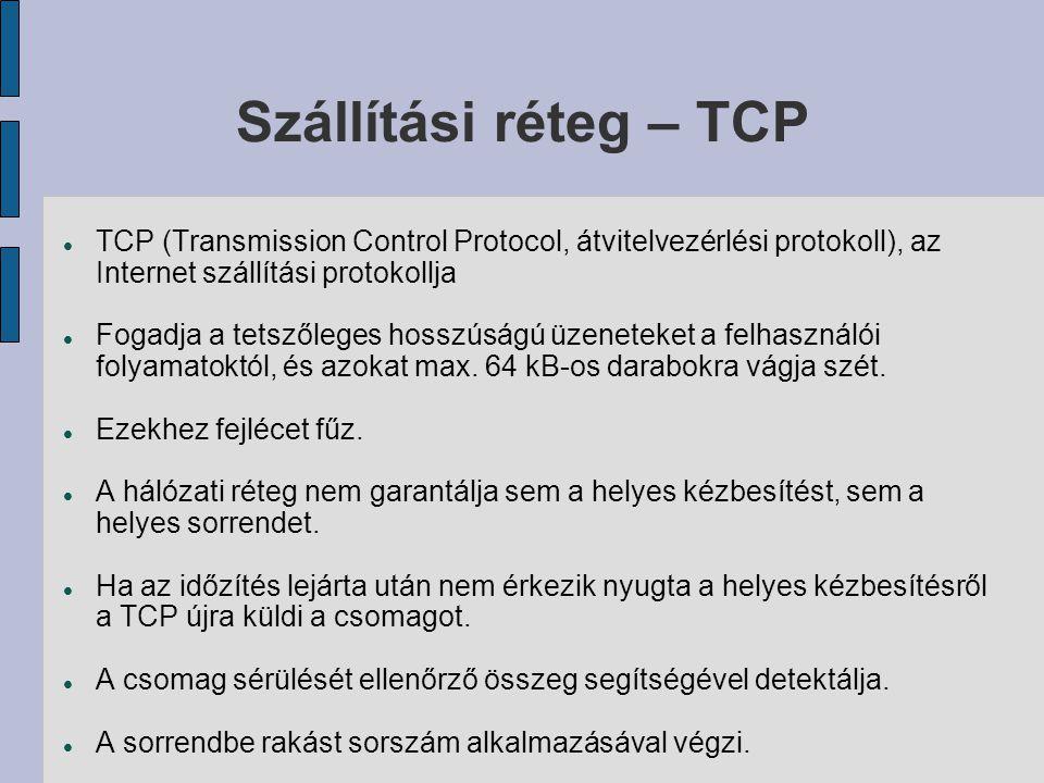 Szállítási réteg – TCP  TCP (Transmission Control Protocol, átvitelvezérlési protokoll), az Internet szállítási protokollja  Fogadja a tetszőleges hosszúságú üzeneteket a felhasználói folyamatoktól, és azokat max.
