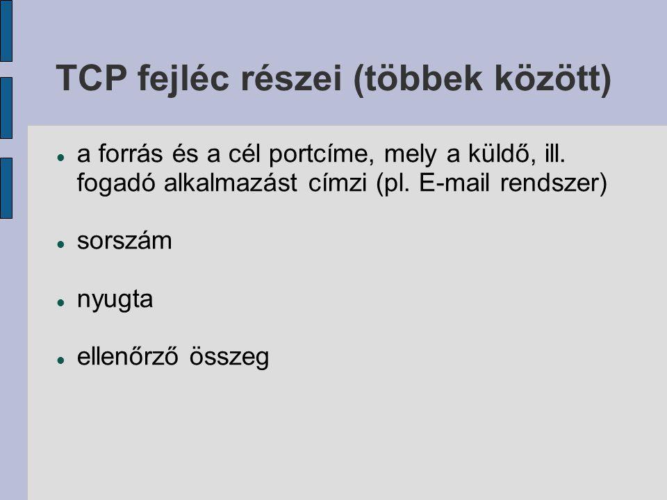 TCP fejléc részei (többek között)  a forrás és a cél portcíme, mely a küldő, ill. fogadó alkalmazást címzi (pl. E-mail rendszer)  sorszám  nyugta 