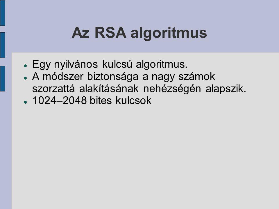 Az RSA algoritmus  Egy nyilvános kulcsú algoritmus.  A módszer biztonsága a nagy számok szorzattá alakításának nehézségén alapszik.  1024–2048 bite
