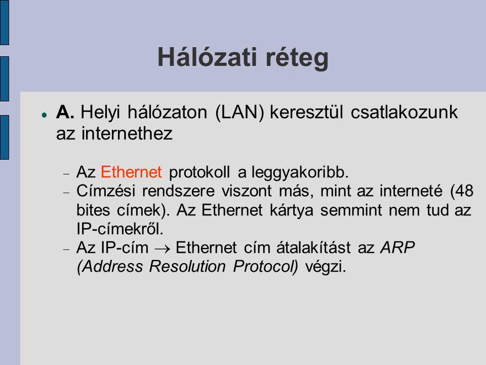 Hálózati réteg  A. Helyi hálózaton (LAN) keresztül csatlakozunk az internethez  Az Ethernet protokoll a leggyakoribb.  Címzési rendszere viszont má