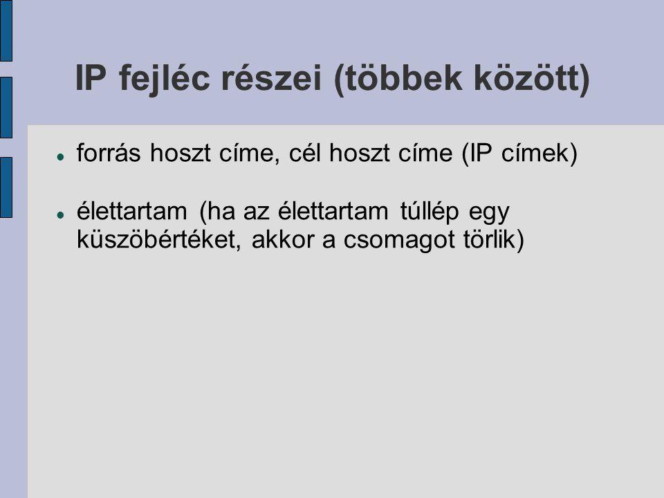 IP fejléc részei (többek között)  forrás hoszt címe, cél hoszt címe (IP címek)  élettartam (ha az élettartam túllép egy küszöbértéket, akkor a csomagot törlik)