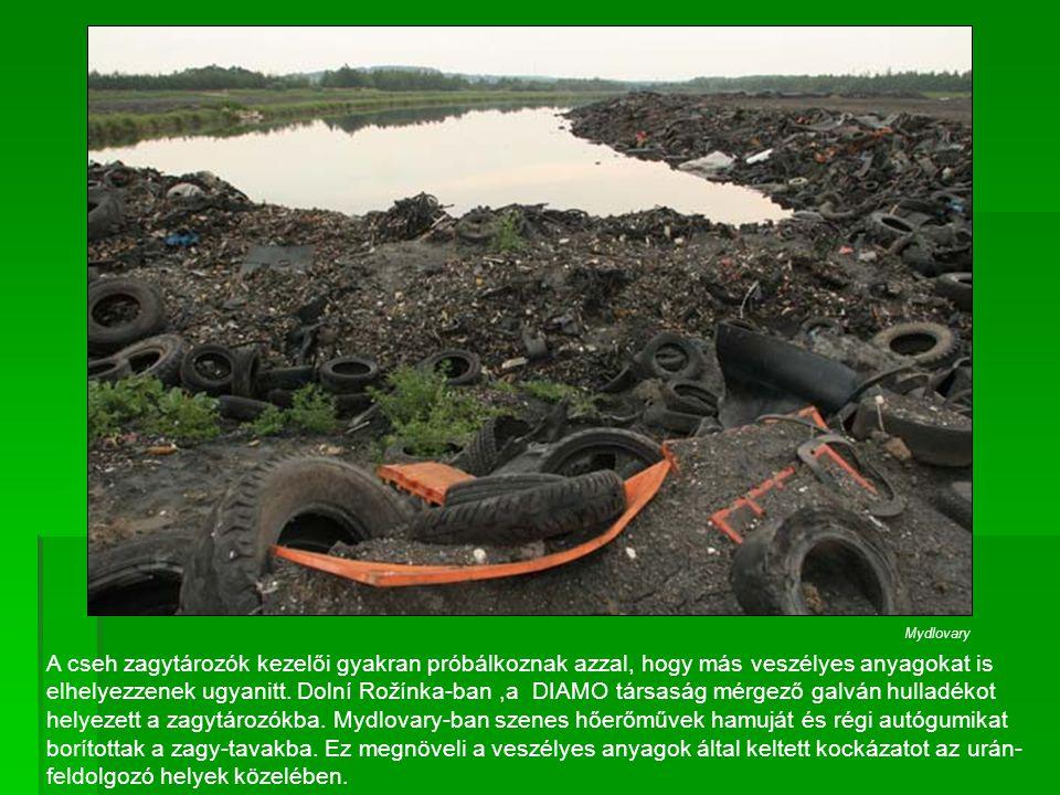 A cseh zagytározók kezelői gyakran próbálkoznak azzal, hogy más veszélyes anyagokat is elhelyezzenek ugyanitt. Dolní Rožínka-ban,a DIAMO társaság mérg