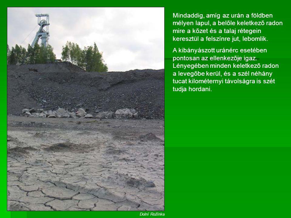 Mindaddig, amíg az urán a földben mélyen lapul, a belőle keletkező radon mire a kőzet és a talaj rétegein keresztül a felszínre jut, lebomlik. A kibán