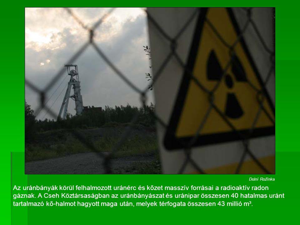 Az uránbányák körül felhalmozott uránérc és kőzet masszív forrásai a radioaktív radon gáznak. A Cseh Köztársaságban az uránbányászat és uránipar össze