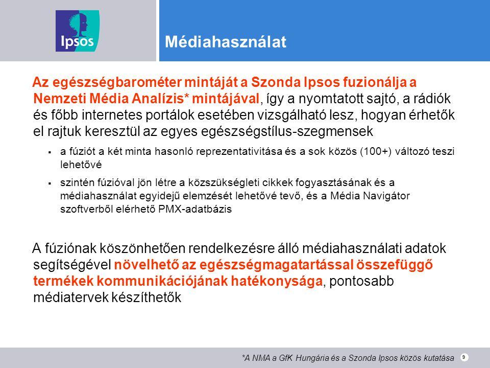 9 Médiahasználat Az egészségbarométer mintáját a Szonda Ipsos fuzionálja a Nemzeti Média Analízis* mintájával, így a nyomtatott sajtó, a rádiók és főb