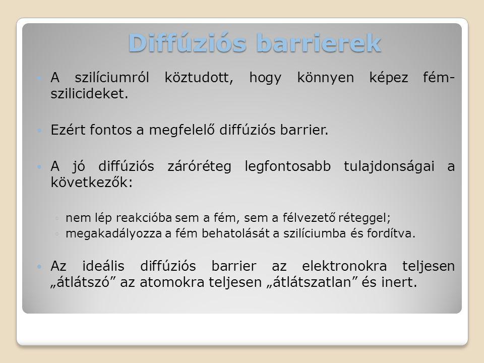 Diffúziós barrierek  A szilíciumról köztudott, hogy könnyen képez fém- szilicideket.