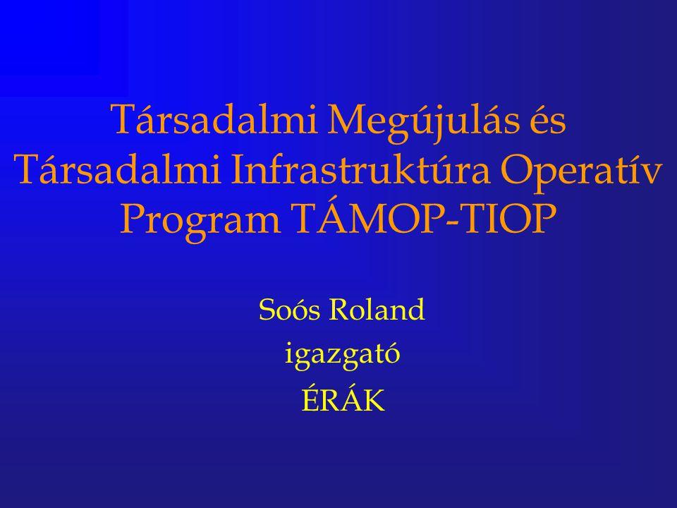 Társadalmi Megújulás és Társadalmi Infrastruktúra Operatív Program TÁMOP-TIOP Soós Roland igazgató ÉRÁK