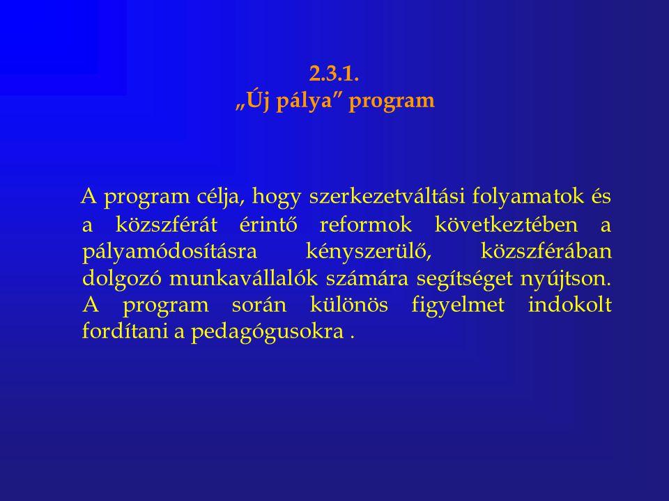 """2.3.1. """"Új pálya"""" program A program célja, hogy szerkezetváltási folyamatok és a közszférát érintő reformok következtében a pályamódosításra kényszerü"""