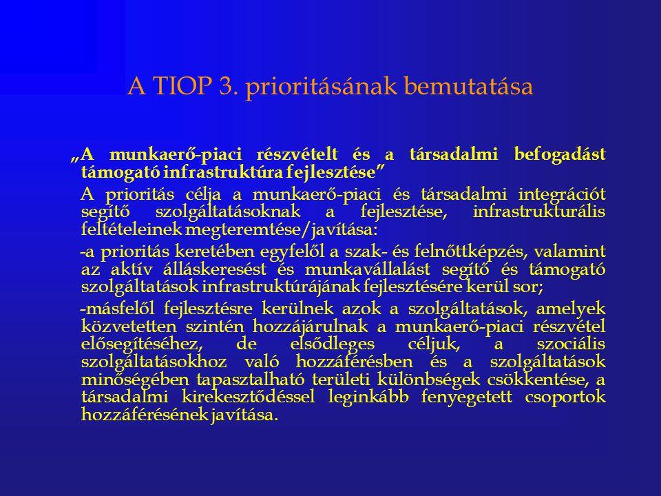 """A TIOP 3. prioritásának bemutatása """"A munkaerő-piaci részvételt és a társadalmi befogadást támogató infrastruktúra fejlesztése"""" A prioritás célja a mu"""