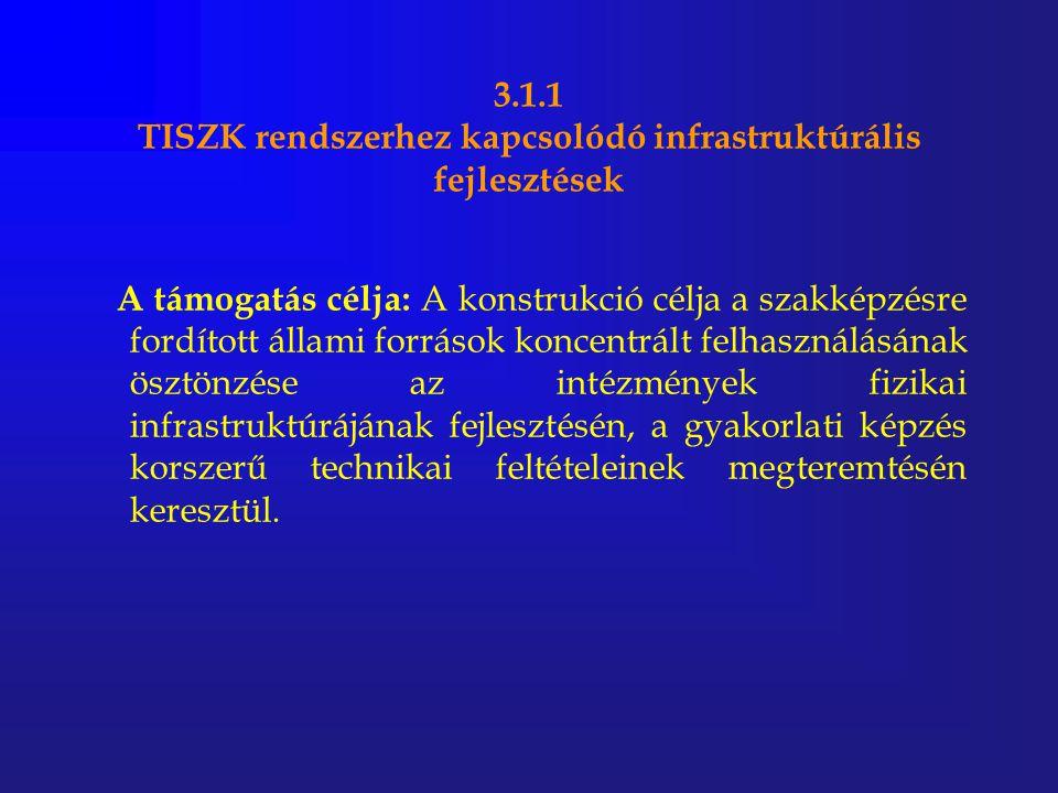 3.1.1 TISZK rendszerhez kapcsolódó infrastruktúrális fejlesztések A támogatás célja: A konstrukció célja a szakképzésre fordított állami források konc