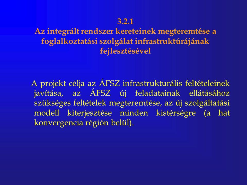 3.2.1 Az integrált rendszer kereteinek megteremtése a foglalkoztatási szolgálat infrastruktúrájának fejlesztésével A projekt célja az ÁFSZ infrastrukt