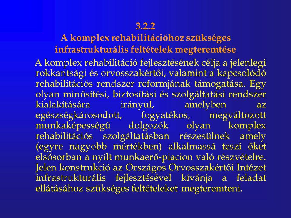 3.2.2 A komplex rehabilitációhoz szükséges infrastrukturális feltételek megteremtése A komplex rehabilitáció fejlesztésének célja a jelenlegi rokkants