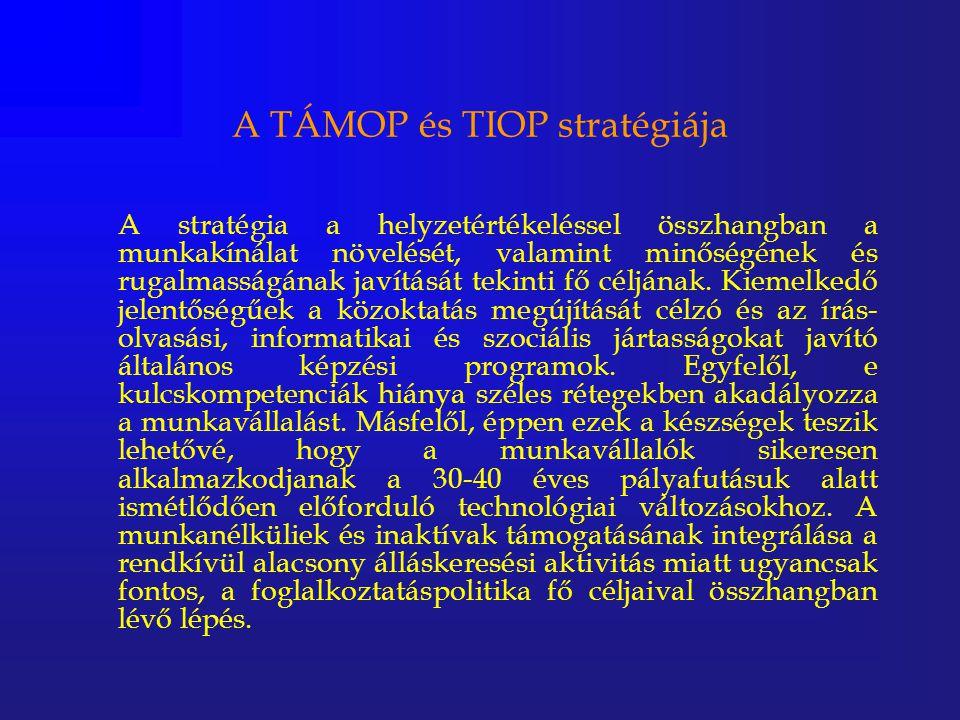 A TÁMOP és TIOP stratégiája A stratégia a helyzetértékeléssel összhangban a munkakínálat növelését, valamint minőségének és rugalmasságának javítását