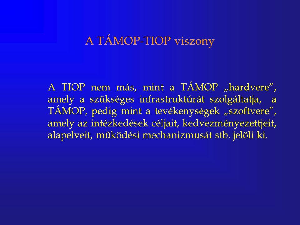 """A TÁMOP-TIOP viszony A TIOP nem más, mint a TÁMOP """"hardvere"""", amely a szükséges infrastruktúrát szolgáltatja, a TÁMOP, pedig mint a tevékenységek """"szo"""