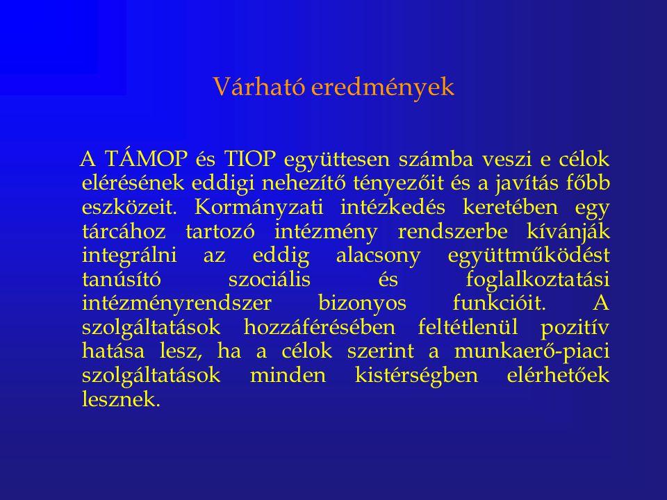 Várható eredmények A TÁMOP és TIOP együttesen számba veszi e célok elérésének eddigi nehezítő tényezőit és a javítás főbb eszközeit. Kormányzati intéz
