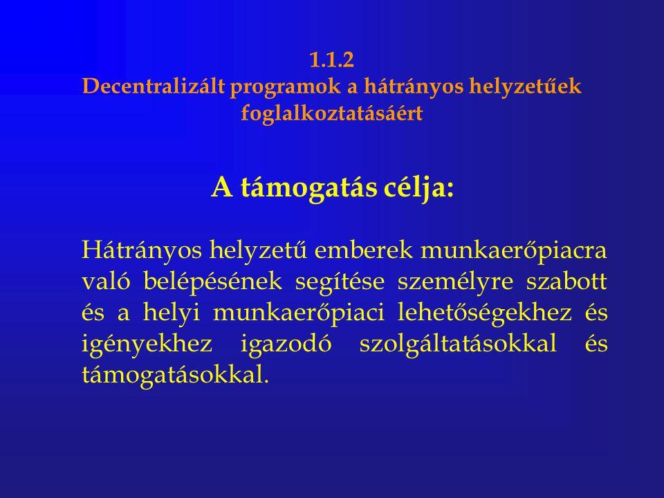 1.1.2 Decentralizált programok a hátrányos helyzetűek foglalkoztatásáért A támogatás célja: Hátrányos helyzetű emberek munkaerőpiacra való belépésének