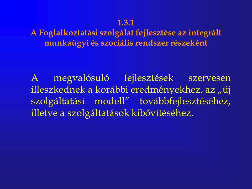 1.3.1 A Foglalkoztatási szolgálat fejlesztése az integrált munkaügyi és szociális rendszer részeként A megvalósuló fejlesztések szervesen illeszkednek