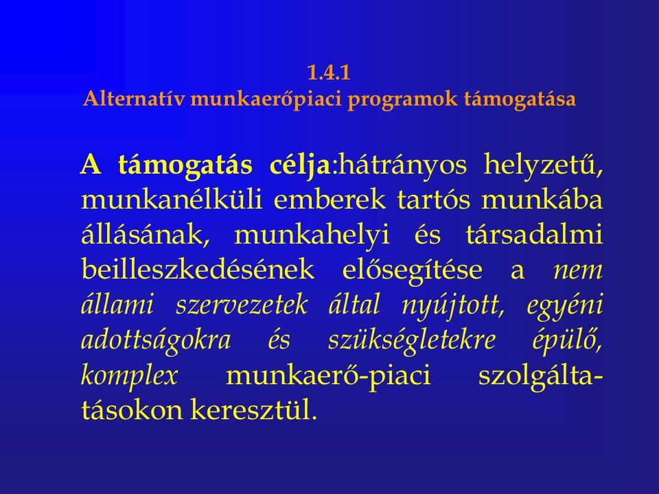 1.4.1 Alternatív munkaerőpiaci programok támogatása A támogatás célja :hátrányos helyzetű, munkanélküli emberek tartós munkába állásának, munkahelyi é