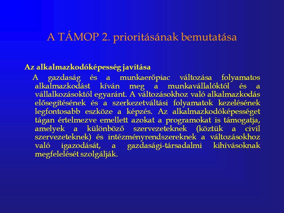 A TÁMOP 2. prioritásának bemutatása Az alkalmazkodóképesség javítása A gazdaság és a munkaerőpiac változása folyamatos alkalmazkodást kíván meg a munk