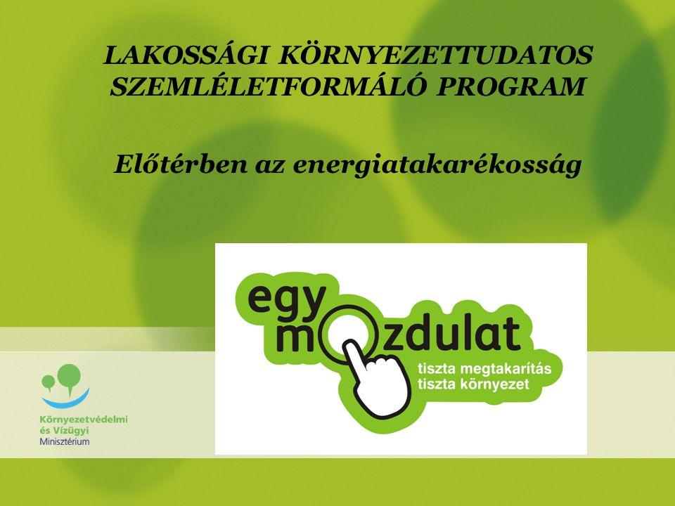 A program fő üzenete •Az elsődleges hangsúlyt az energia- takarékosságra helyezzük, mivel a lakosság széles rétegét elsődlegesen saját közvetlen anyagi érdekein keresztül lehet megszólítani.