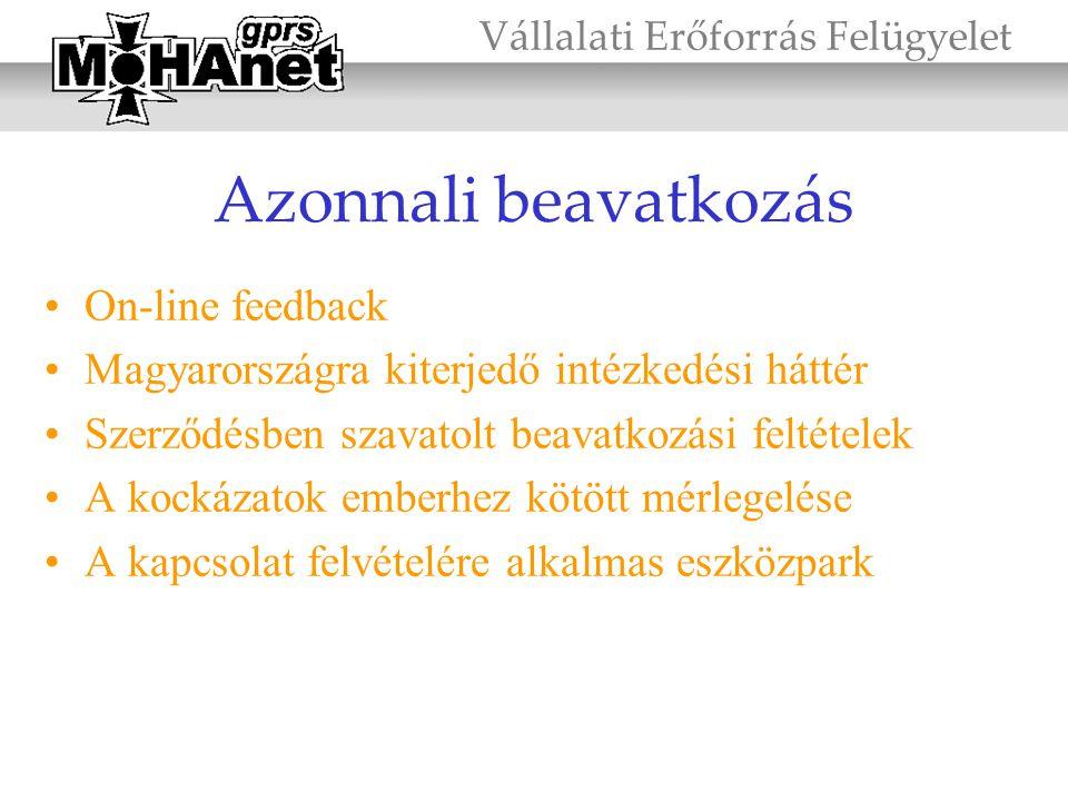 Azonnali beavatkozás •On-line feedback •Magyarországra kiterjedő intézkedési háttér •Szerződésben szavatolt beavatkozási feltételek •A kockázatok embe