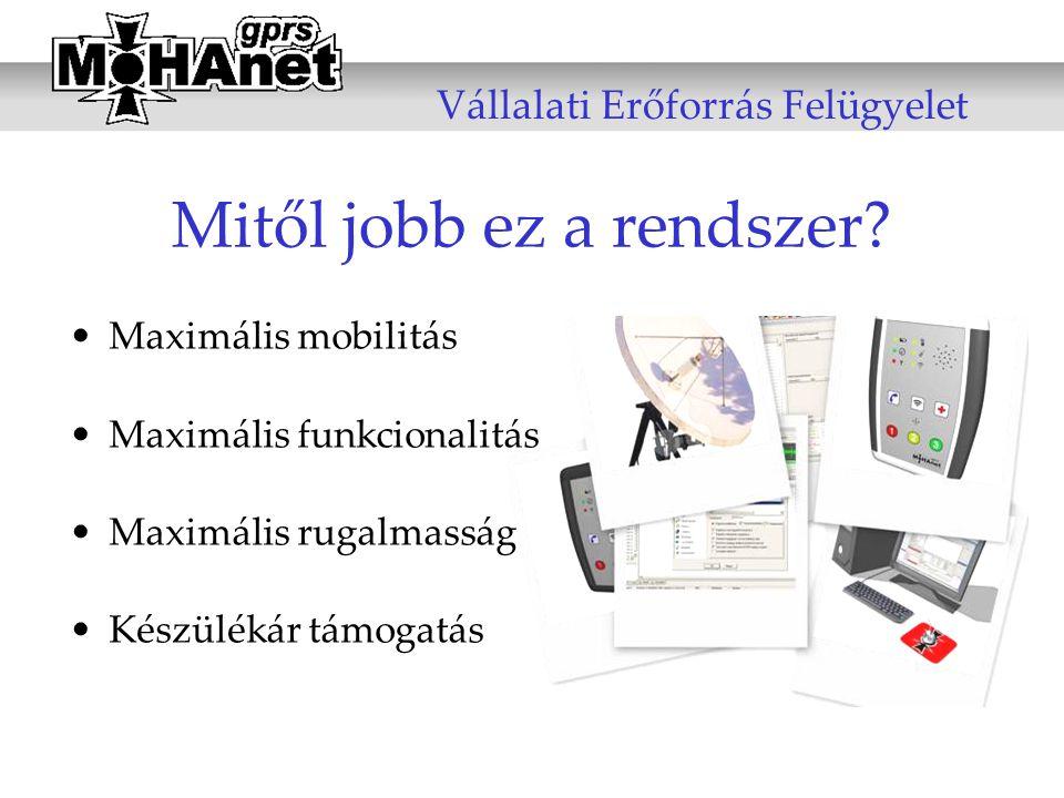 Mitől jobb ez a rendszer? •Maximális mobilitás •Maximális funkcionalitás •Maximális rugalmasság •Készülékár támogatás Vállalati Erőforrás Felügyelet