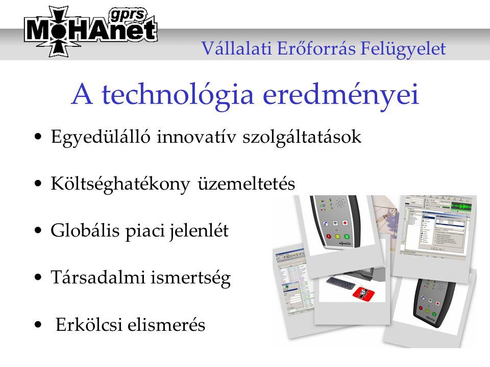 A technológia eredményei •Egyedülálló innovatív szolgáltatások •Költséghatékony üzemeltetés •Globális piaci jelenlét •Társadalmi ismertség • Erkölcsi