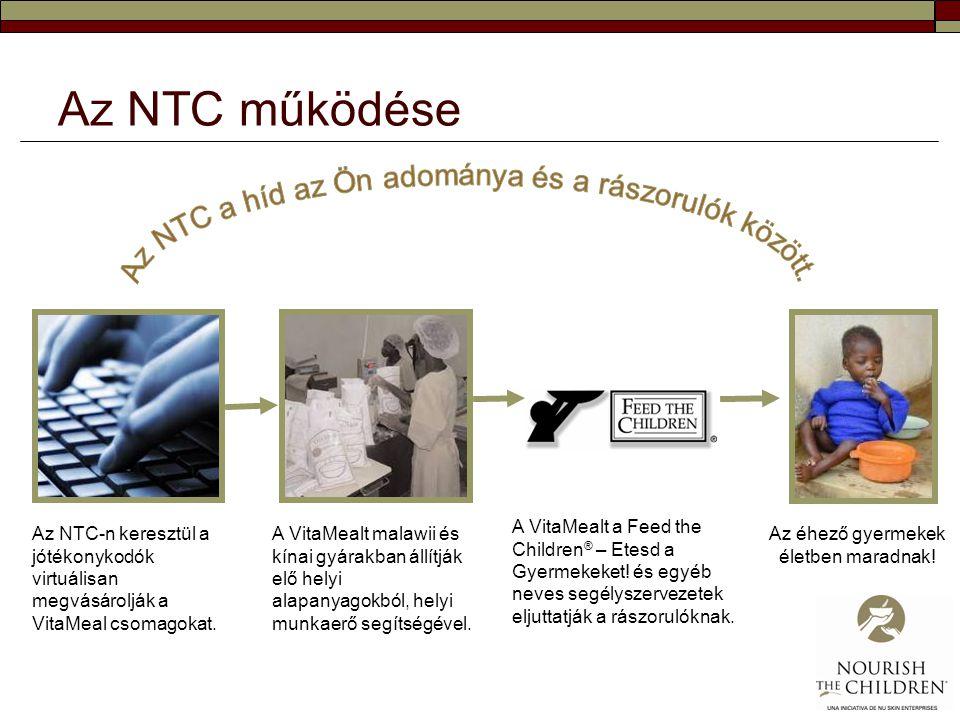 Az NTC működése Az NTC-n keresztül a jótékonykodók virtuálisan megvásárolják a VitaMeal csomagokat. A VitaMealt malawii és kínai gyárakban állítják el