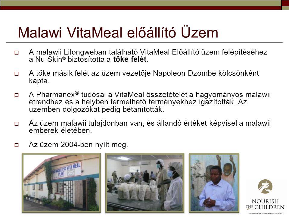 Malawi VitaMeal előállító Üzem  A malawii Lilongweban található VitaMeal Előállító üzem felépítéséhez a Nu Skin ® biztosította a tőke felét.  A tőke