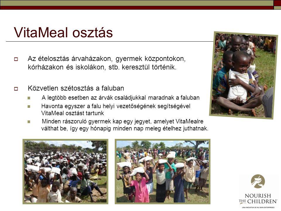 VitaMeal osztás  Az ételosztás árvaházakon, gyermek központokon, kórházakon és iskolákon, stb. keresztül történik.  Közvetlen szétosztás a faluban 