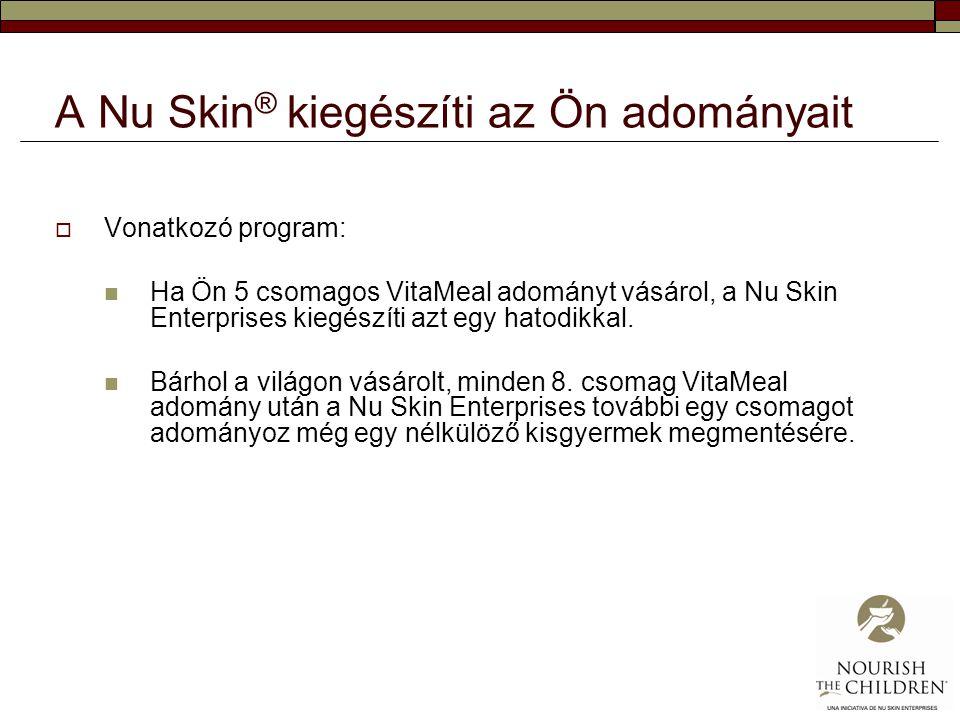A Nu Skin ® kiegészíti az Ön adományait  Vonatkozó program:  Ha Ön 5 csomagos VitaMeal adományt vásárol, a Nu Skin Enterprises kiegészíti azt egy ha