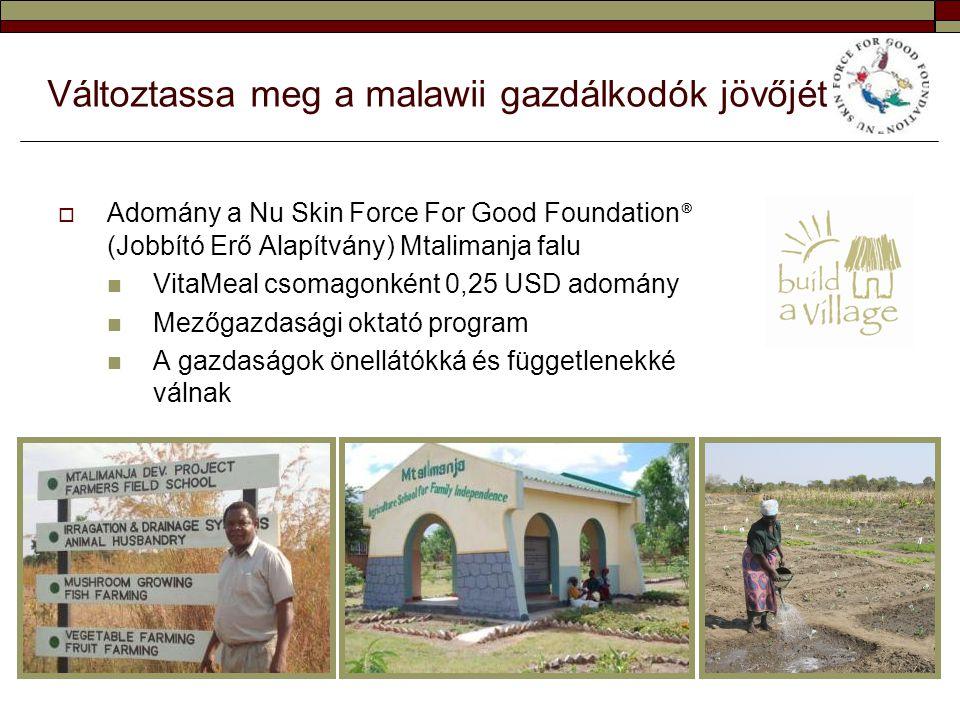 Változtassa meg a malawii gazdálkodók jövőjét  Adomány a Nu Skin Force For Good Foundation ® (Jobbító Erő Alapítvány) Mtalimanja falu  VitaMeal csom