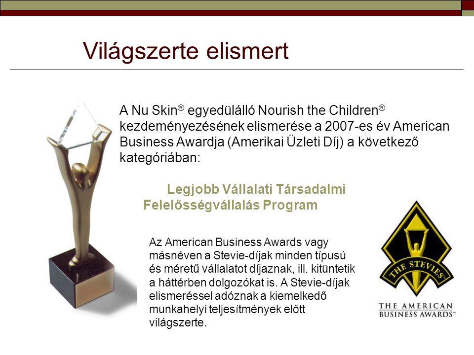 Világszerte elismert A Nu Skin ® egyedülálló Nourish the Children ® kezdeményezésének elismerése a 2007-es év American Business Awardja (Amerikai Üzle