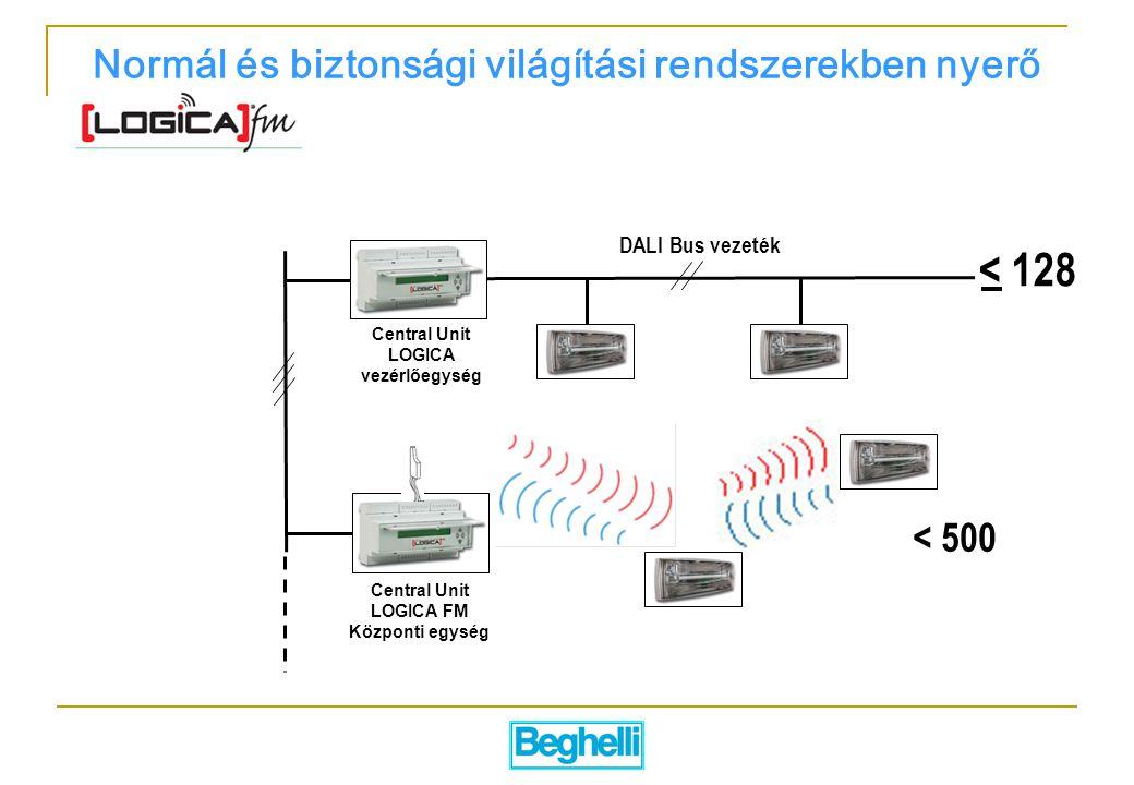 DALI Bus vezeték Central Unit LOGICA vezérlőegység Central Unit LOGICA FM Központi egység < 128 < 500 Normál és biztonsági világítási rendszerekben nyerő