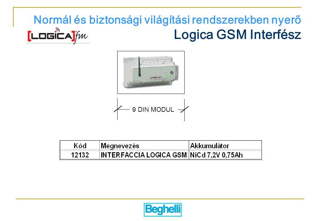 Normál és biztonsági világítási rendszerekben nyerő Logica GSM Interfész 9 DIN MODUL