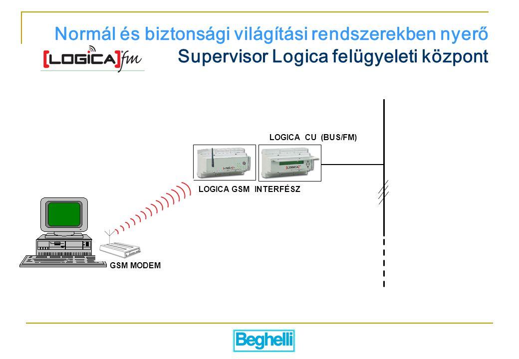 Normál és biztonsági világítási rendszerekben nyerő Supervisor Logica felügyeleti központ LOGICA GSM INTERFÉSZ LOGICA CU (BUS/FM) GSM MODEM