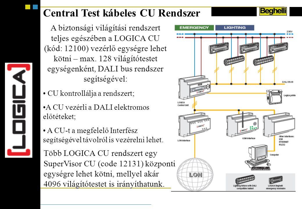 Central Test kábeles CU Rendszer A biztonsági világítási rendszert teljes egészében a LOGICA CU (kód: 12100) vezérlő egységre lehet kötni – max.
