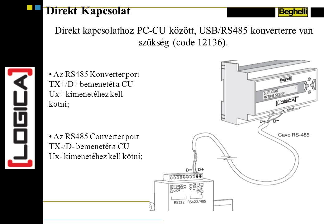 Direkt Kapcsolat Direkt kapcsolathoz PC-CU között, USB/RS485 konverterre van szükség (code 12136).