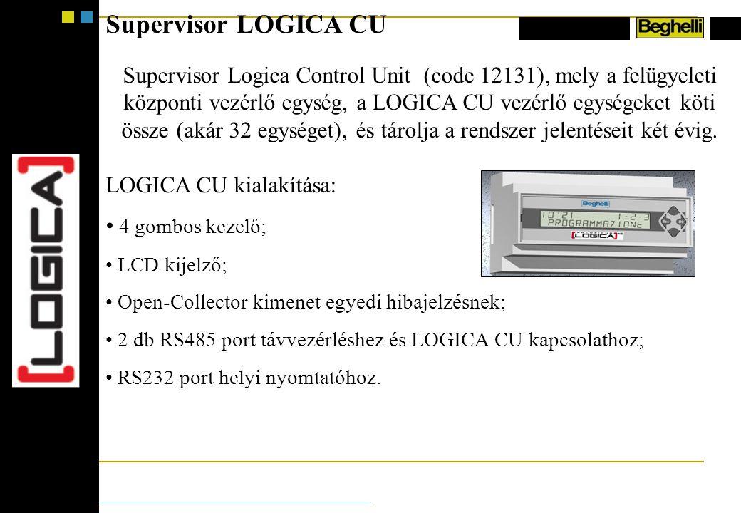 Supervisor LOGICA CU Supervisor Logica Control Unit (code 12131), mely a felügyeleti központi vezérlő egység, a LOGICA CU vezérlő egységeket köti össze (akár 32 egységet), és tárolja a rendszer jelentéseit két évig.